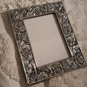 Buffed Pewter Frame with Grapevine Design